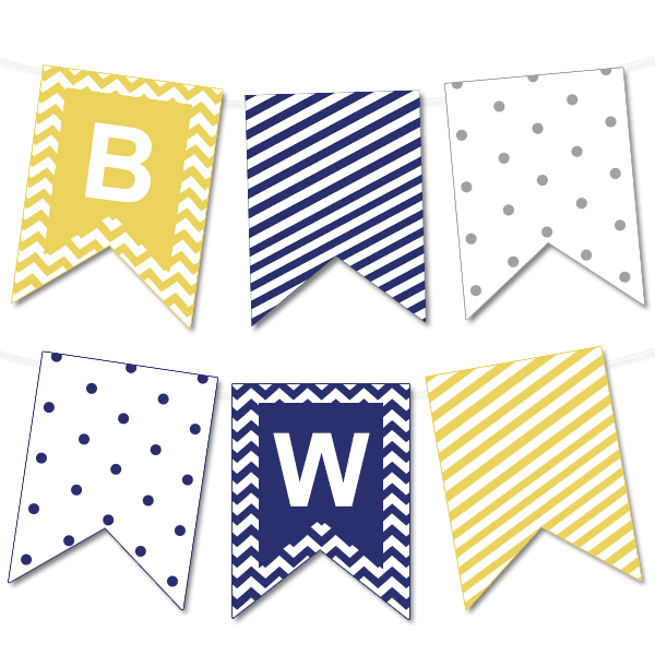 graphic relating to Printable Banners named Chevron and Striped Bunting Banner - Chicfetti