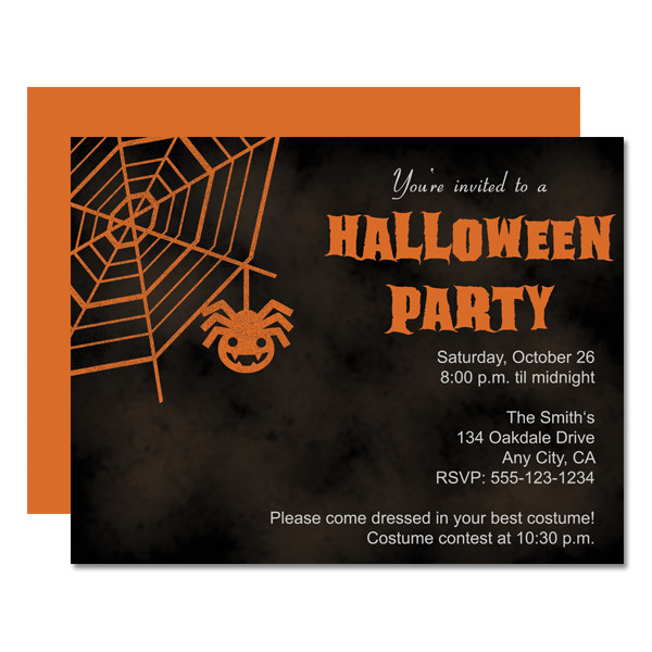 spider web halloween party invitation chicfetti