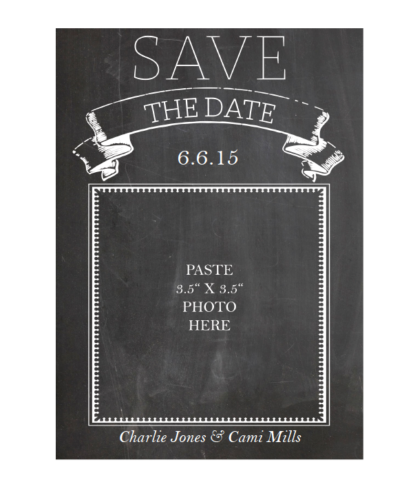 graphic regarding Free Printable Save the Date identify Chalkboard Help you save the Day Playing cards - Chicfetti