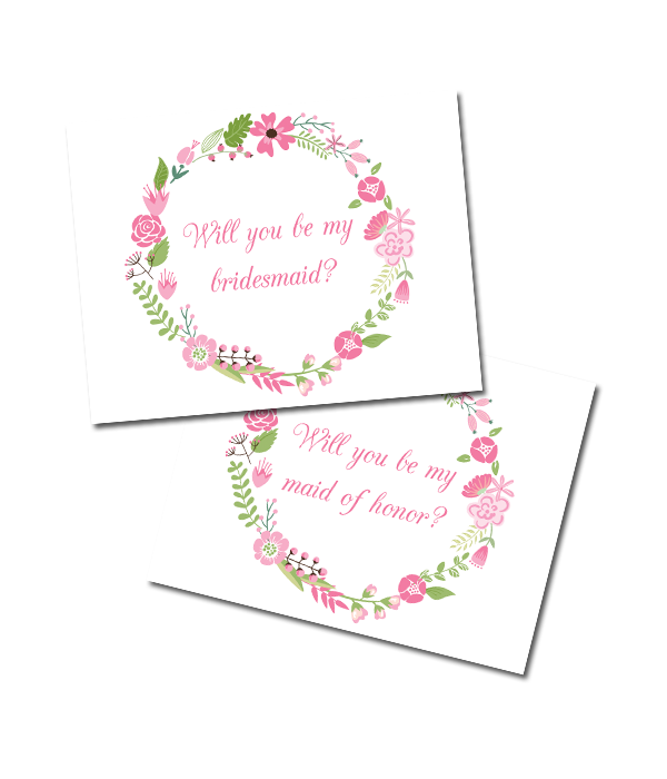 image about Printable Bridesmaid Cards referred to as Floral Bridesmaid Playing cards - Chicfetti