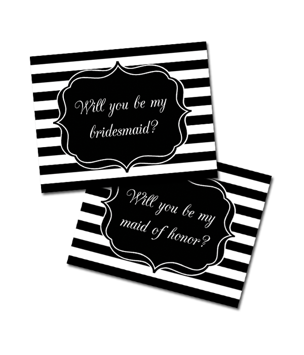 image relating to Free Printable Bridesmaid Cards called Striped Bridesmaid Playing cards - Chicfetti