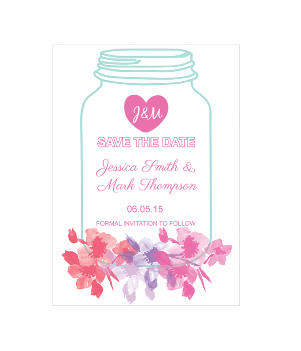 mason jar save the date cards chicfetti