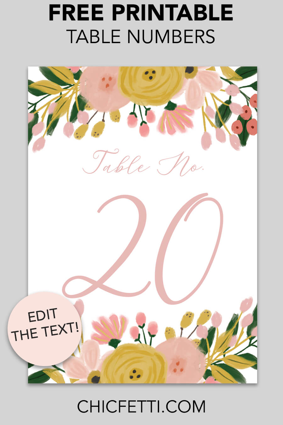Free Printable Table Numbers - download and print these free printable table numbers for a wedding or party. #tablenumbers #weddingideas #partyideas #freeprintable #printable #weddings #parties