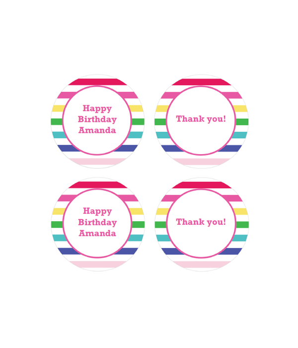 Happy Stripes Printable Party Labels Favor Tags Chicfetti