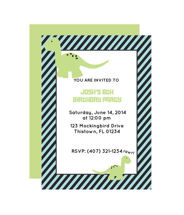 Dinosaur Party Invitation Chicfetti