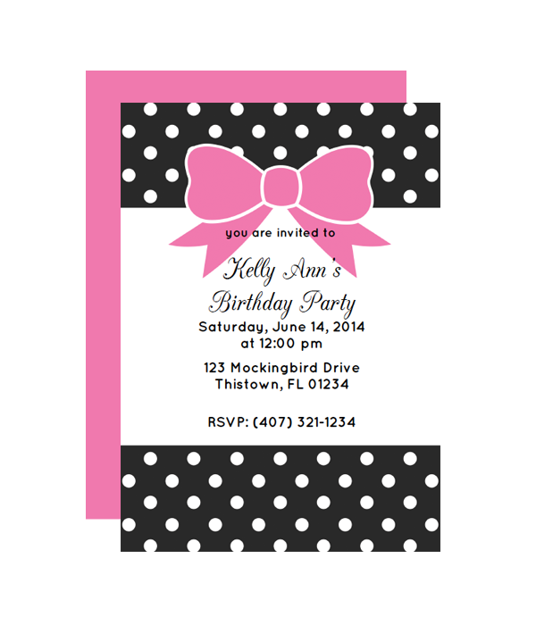 polka dot bow party invitation chicfetti