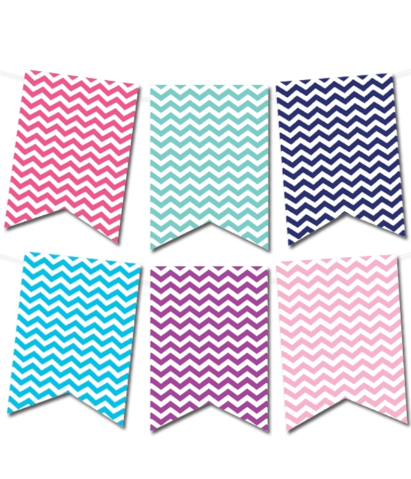photo regarding Free Printable Banners and Signs named Chevron Pennant Banner (within just 12 colours) - Chicfetti