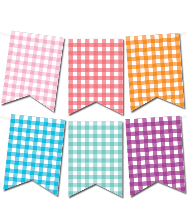 Gingham Pennant Banner In 12 Colors