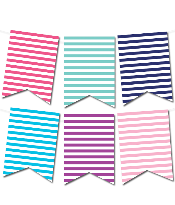 Striped Pennant Banner In 12 Colors