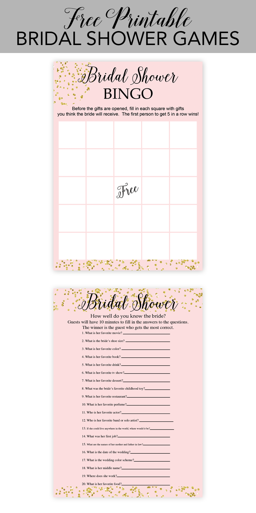 image relating to Bridal Shower Games Free Printable titled Free of charge Printable Bridal Shower Game titles - Chicfetti