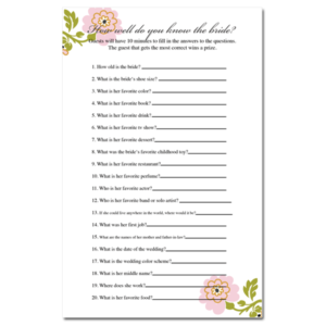 How Well Do You Know The Bride Bridal Shower Game Whimsical Botanical FREE