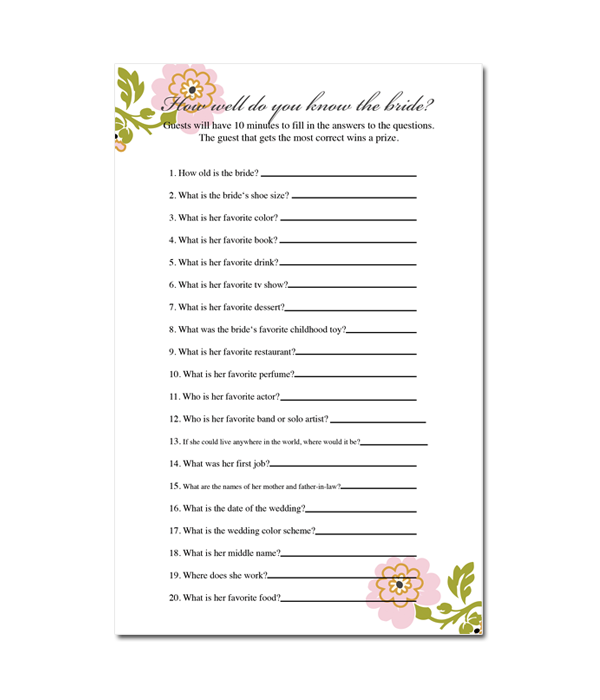 How Well Do You Know The Bride Bridal Shower Game