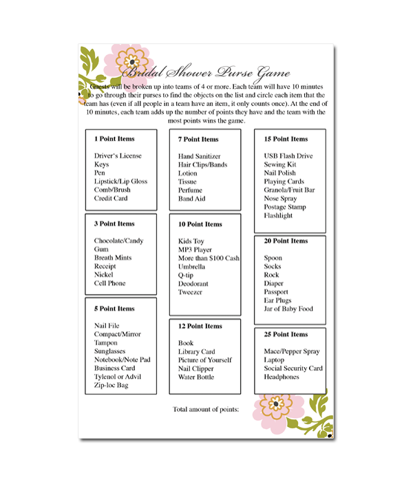 Purse game bridal shower game whimsical botanical for Templates for bridal shower games