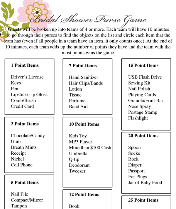 picture about Bridal Shower Purse Game Printable named Totally free Printable Bridal Shower Game titles - Chicfetti
