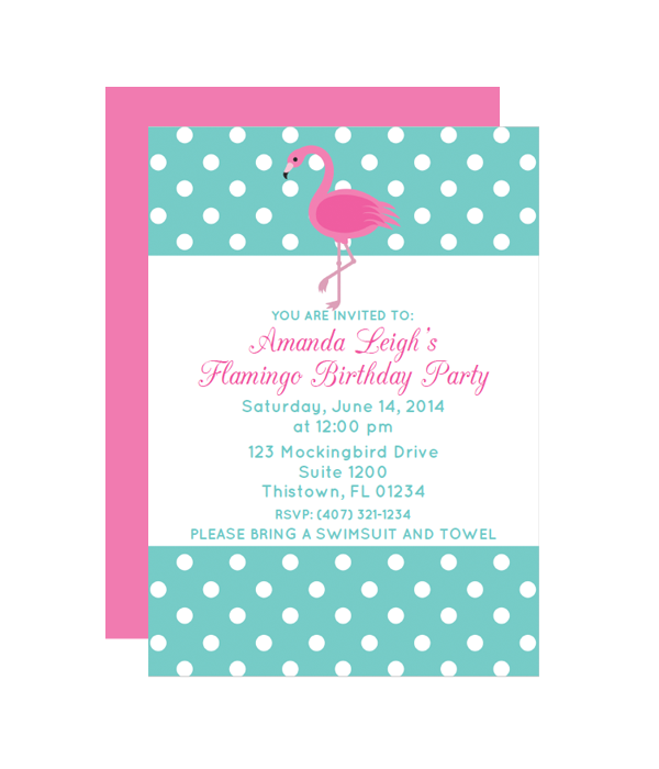 polka dot flamingo party invitation chicfetti