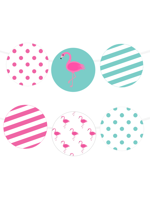Polka Dot Flamingo Printable Garland Chicfetti