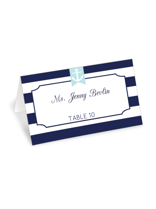 photograph about Free Printable Wedding Place Cards called Nautical Striped Destination Playing cards - Chicfetti