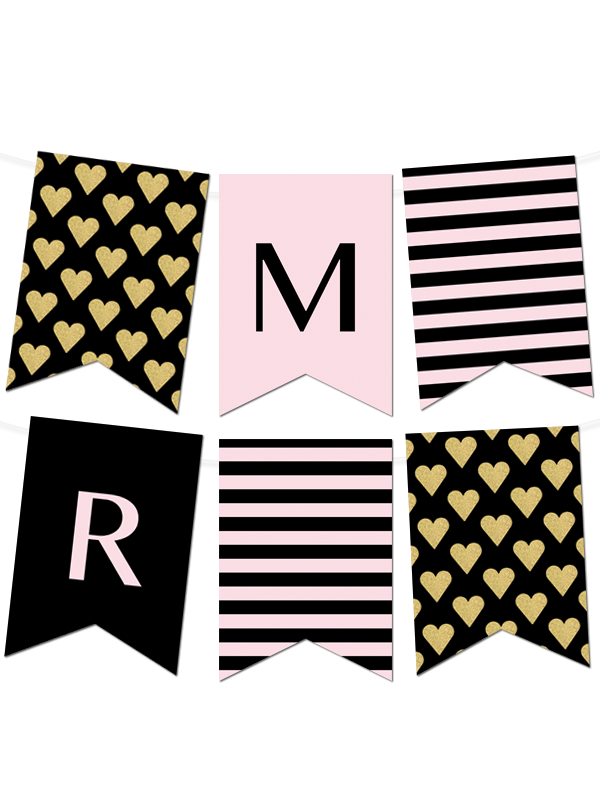 striped gold heart banner