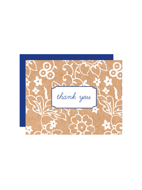 Kraft Flower Thank You Cards Chicfetti - Place card maker