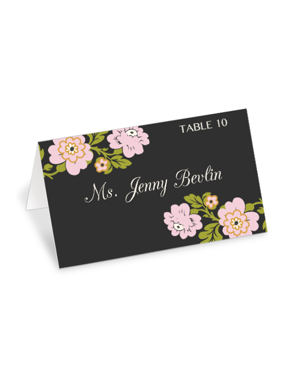 whimsical botanical place cards - Printed Wedding Place Cards