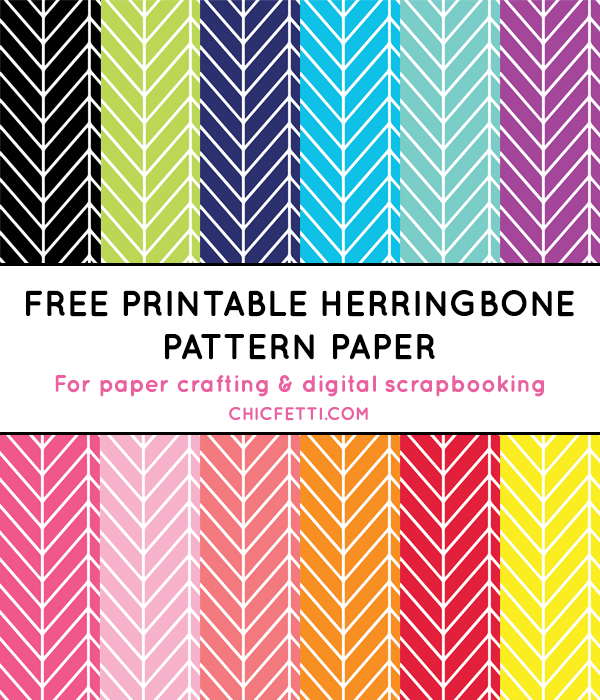 picture relating to Free Printable Pattern Paper known as Herringbone Electronic Paper (inside 12 hues) - Chicfetti