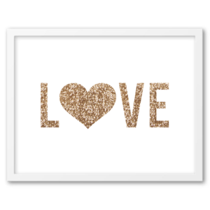 Free Printable Gold Sequin Love Wall Art from Chicfetti.com