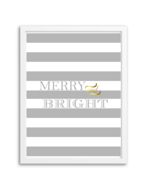 Free Printable Merry and Bright Wall Art from Chicfetti.com