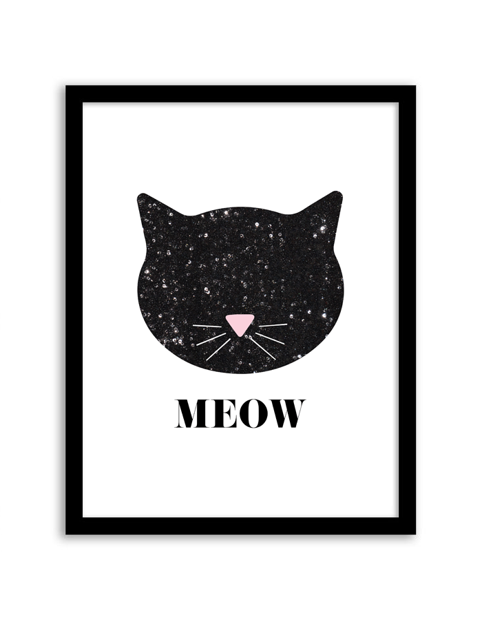 image regarding Cat Printable referred to as Sequin Cat Wall Artwork - Chicfetti