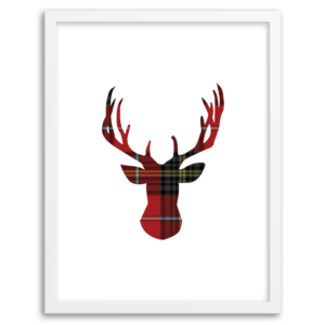 Free Printable Tartan Deer Wall Art from Chicfetti.com