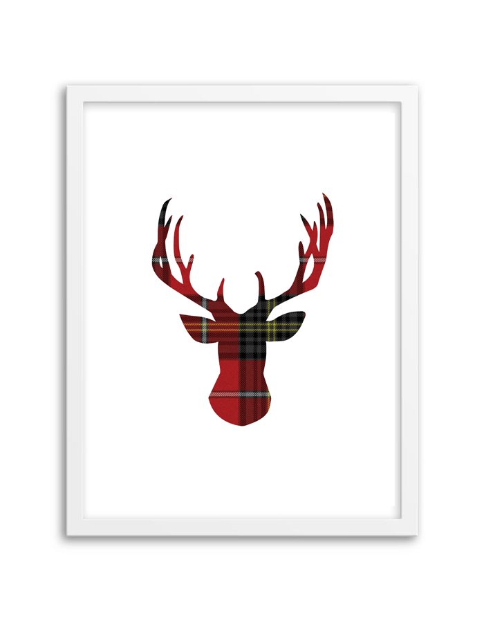 photo relating to Deer Printable identified as Tartan Deer Wall Artwork - Chicfetti