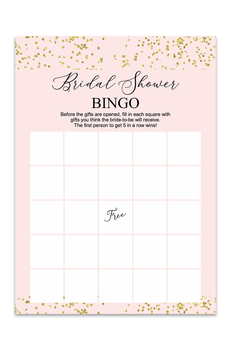 picture regarding Bridal Shower Bingo Free Printable titled Blush and Confetti Bridal Shower Bingo - Chicfetti
