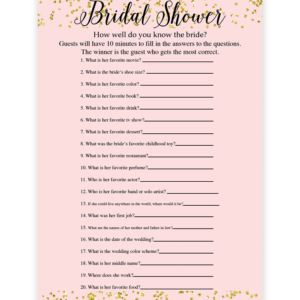 photo about How Well Do You Know the Bride Printable known as Blush And Confetti How Effectively Do Yourself Recognize The Bride Activity
