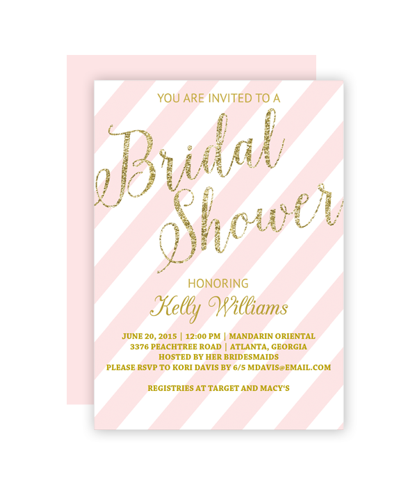 glitter and blush bridal shower invitation