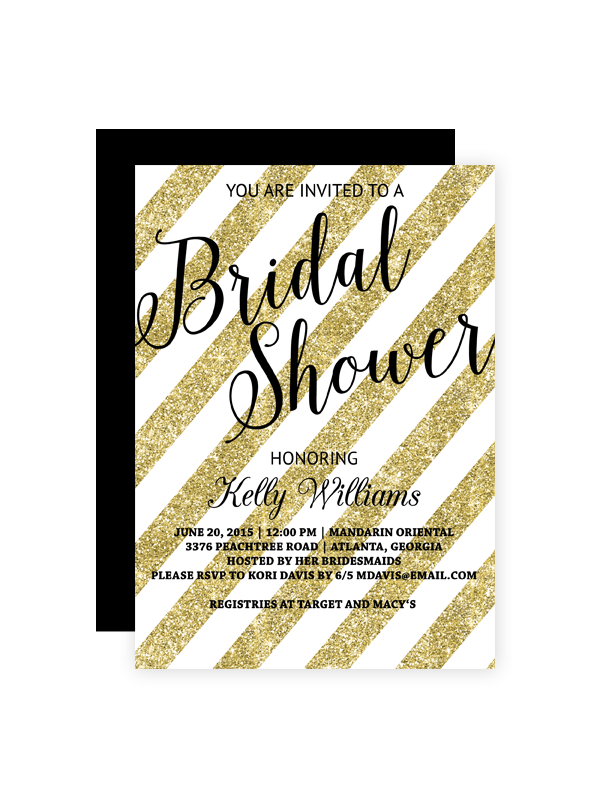 gold glitter striped bridal shower invitation