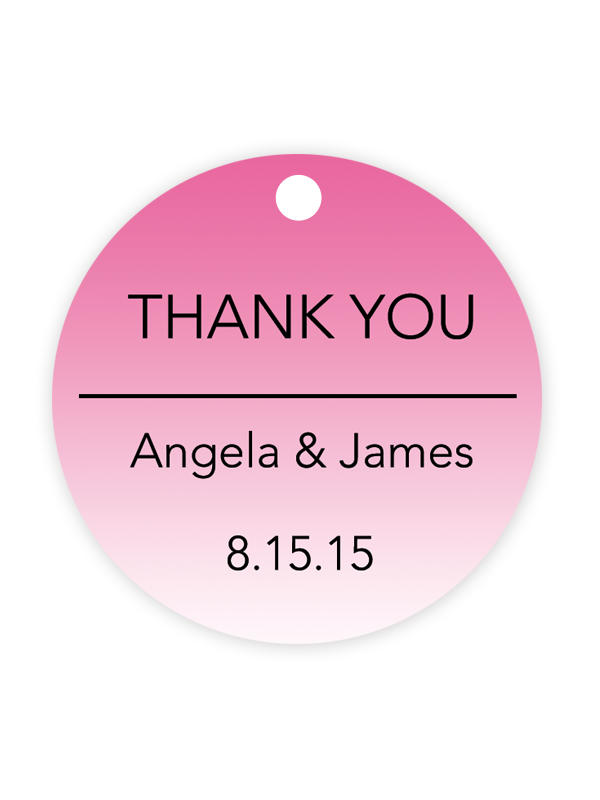 Ombre Wedding Favor Tags Hot Pink Chicfetti