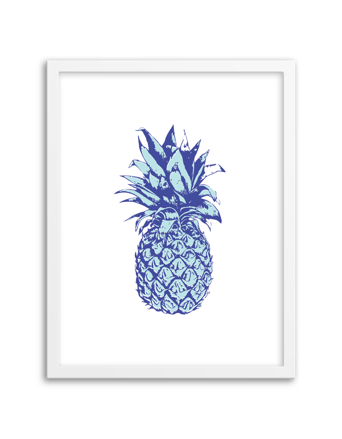 image regarding Free Printable Pineapple called Pineapple Wall Artwork (Blue) - Chicfetti