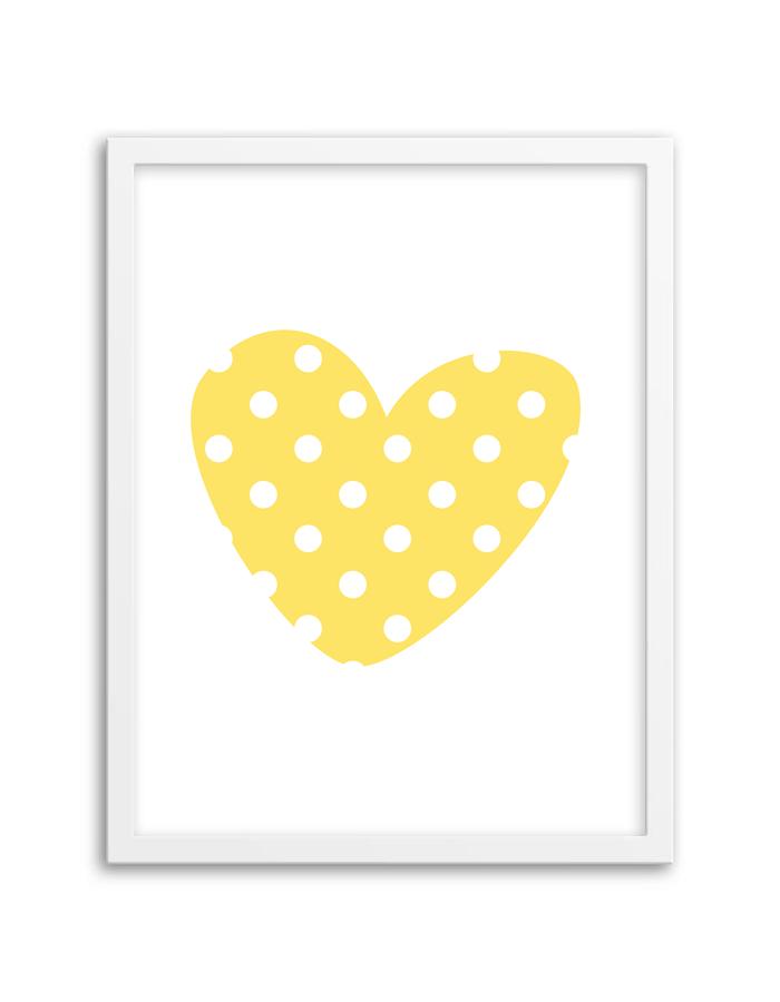 Free Printable Polka Dot Heart Wall Art