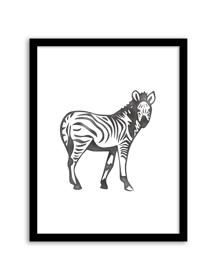 free printable watercolor zebra wall art