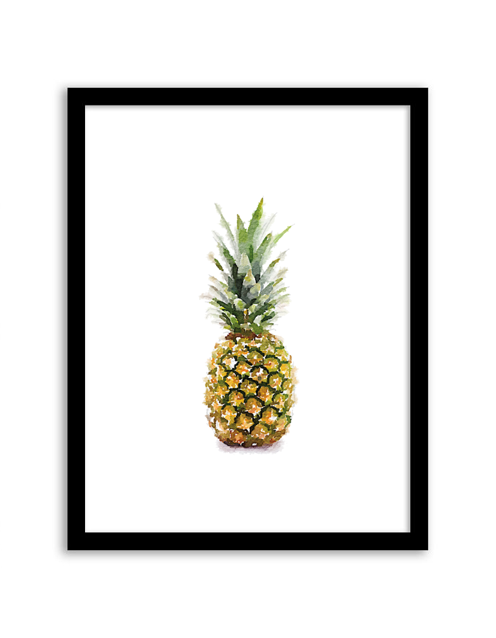picture about Free Printable Pineapple titled Pineapple Watercolor Wall Artwork - Chicfetti