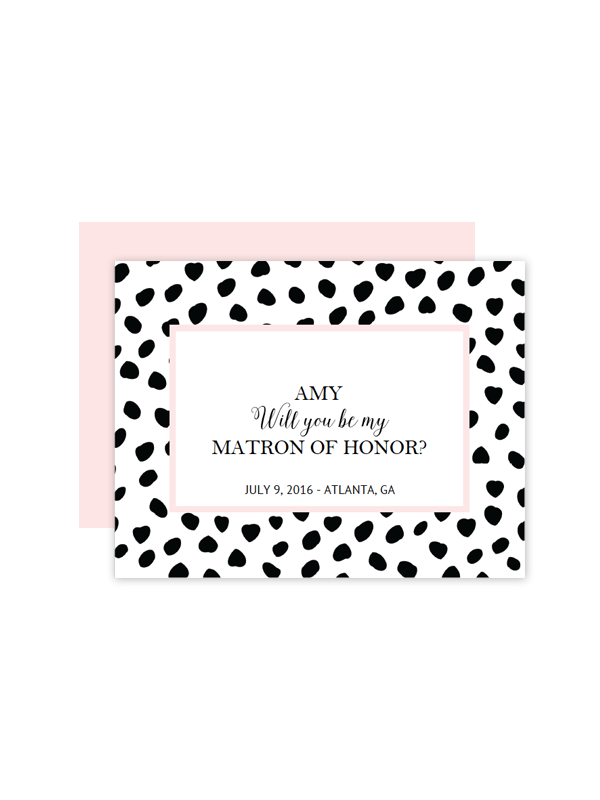 free printable spotted will you be my bridesmaid cards