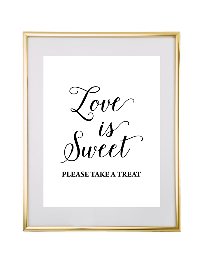 Love Is Sweet Wedding Sign Black Chicfetti