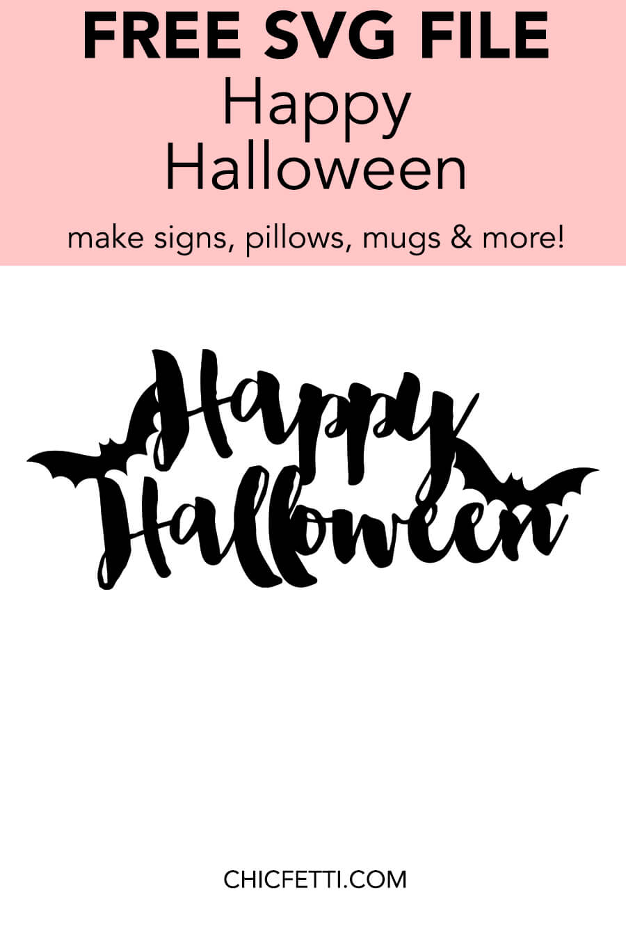 Happy Halloween Free SVG File - Use this SVG cut file to make decals, t-shirts, bags, mugs and more! This SVG file is for electronic cutting machines such as Silhouette Cameo or Cricut #svgfile #svgcutfile #diyideas #diyprojects #silhouettecameo #cricut #halloween #halloweenideas