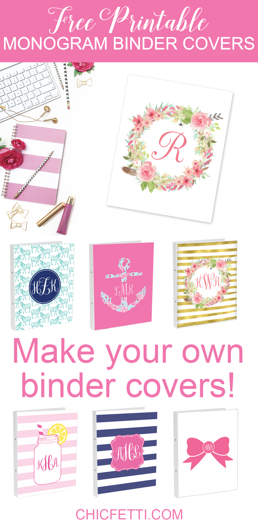graphic about Free Printable Monogram named Do it yourself Monogram Binder Addresses applying Totally free Monogram Manufacturer