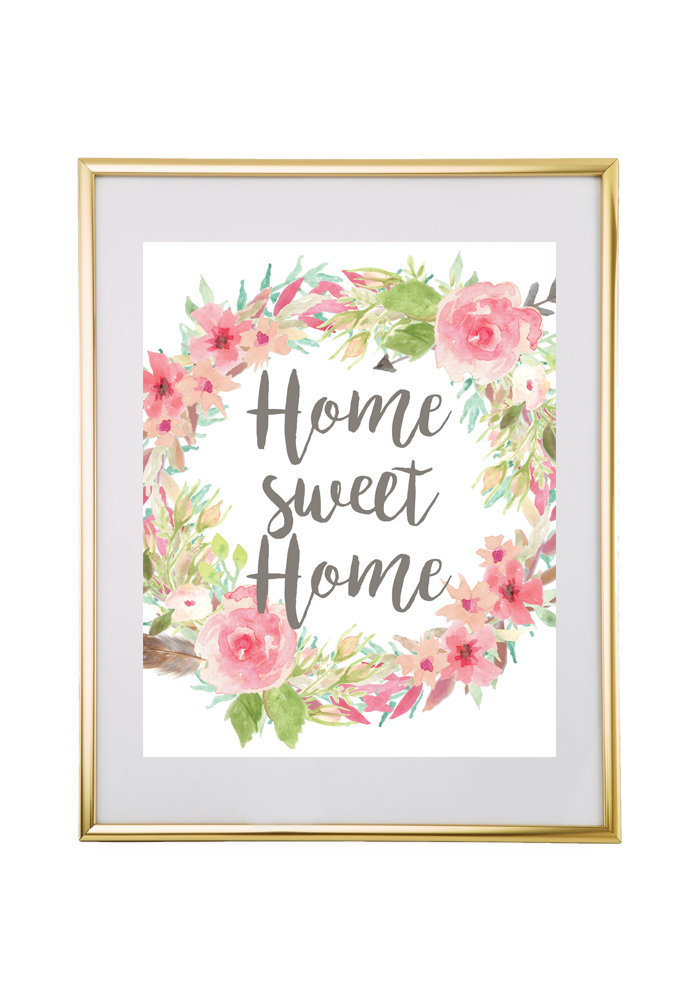 free printable home sweet home floral wreath wall art. Black Bedroom Furniture Sets. Home Design Ideas