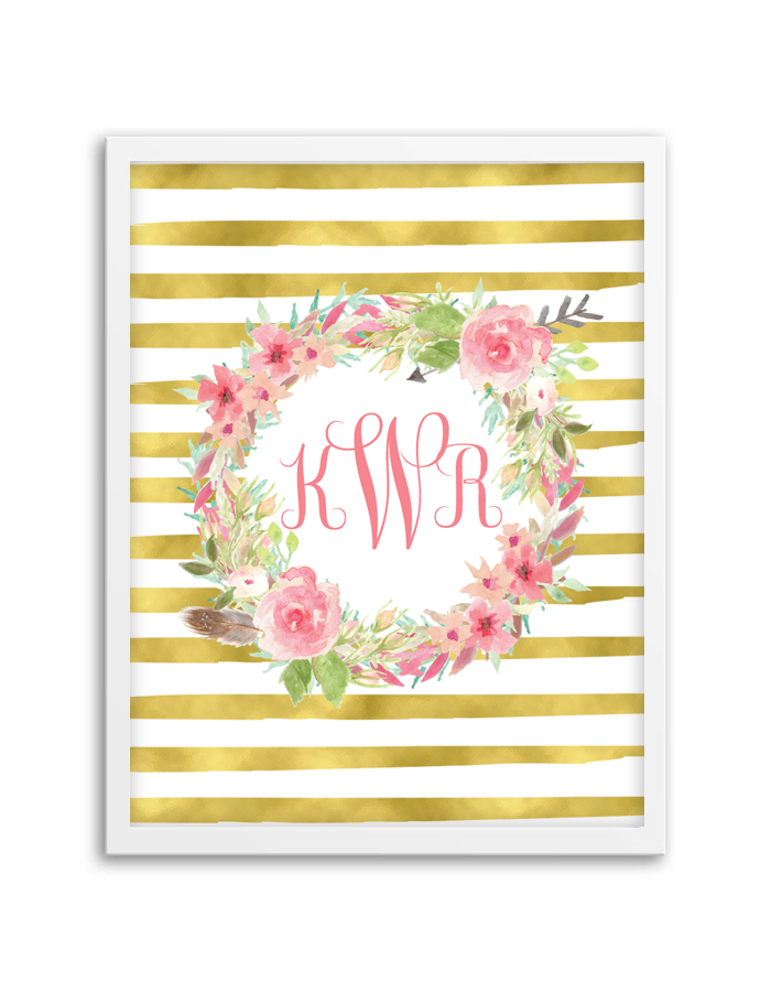 Floral Wreath Striped Monogram Chicfetti