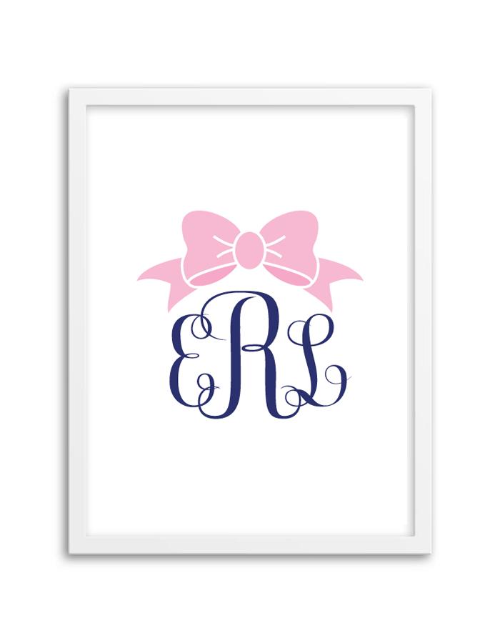 bow monogram light pink navy chicfetti