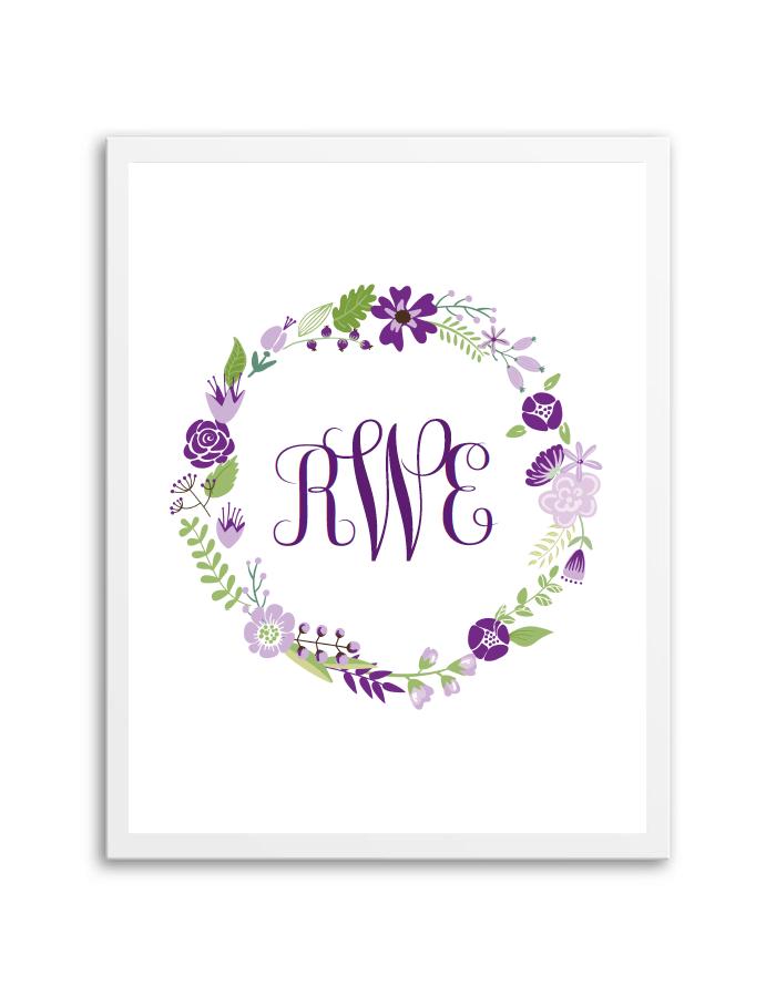 floral wreath monogram purple chicfetti