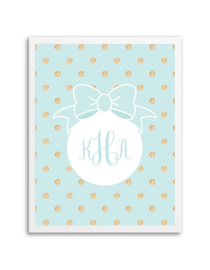 Gold Glitter Polka Dot Bow Monogram (Aqua) - Chicfetti