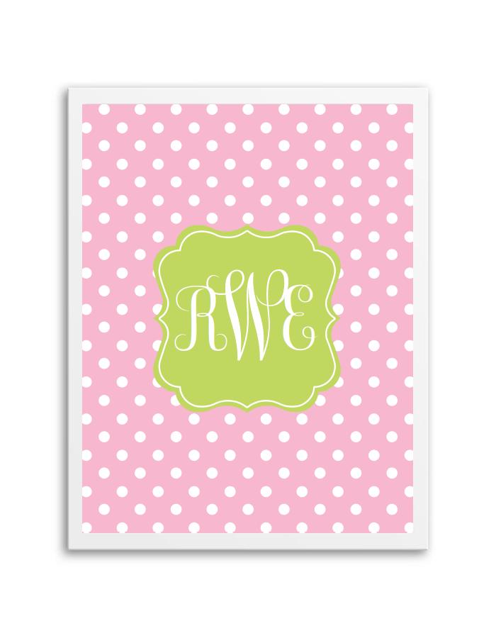 polka dot monogram light pink lime