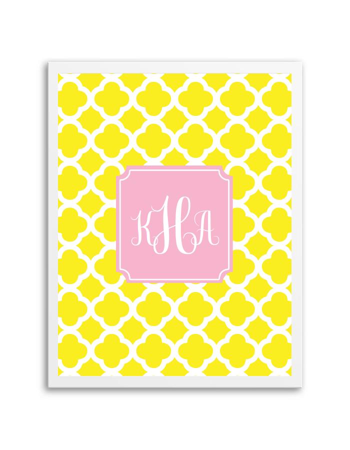 quatrefoil monogram yellow light pink